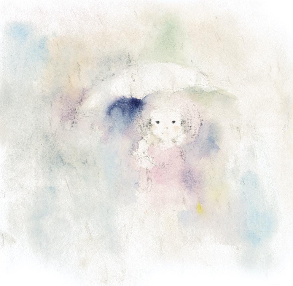 紫の雨のなかの少女