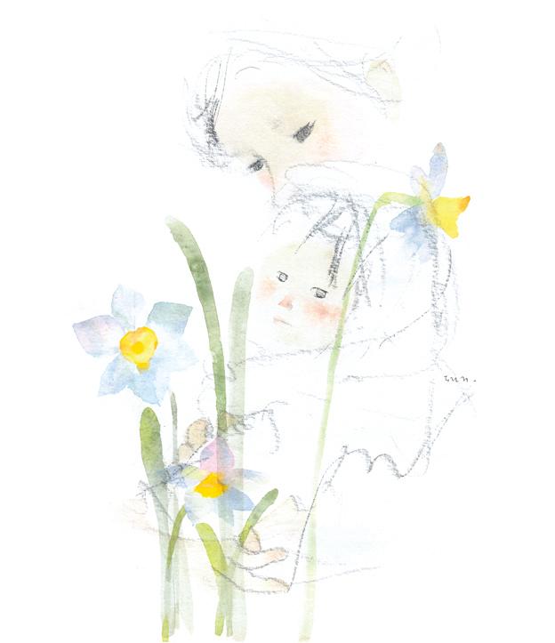 水仙のある母子像